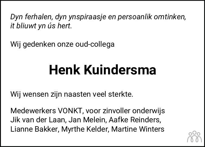 Overlijdensbericht van Henk Kuindersma in Leeuwarder Courant