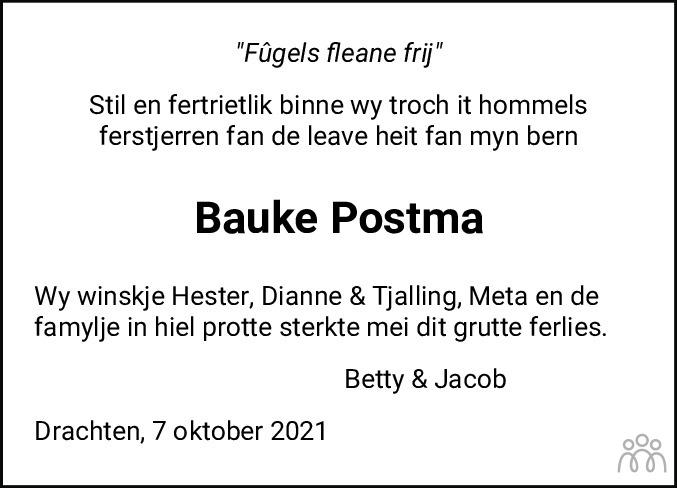 Overlijdensbericht van Bauke Postma in Leeuwarder Courant