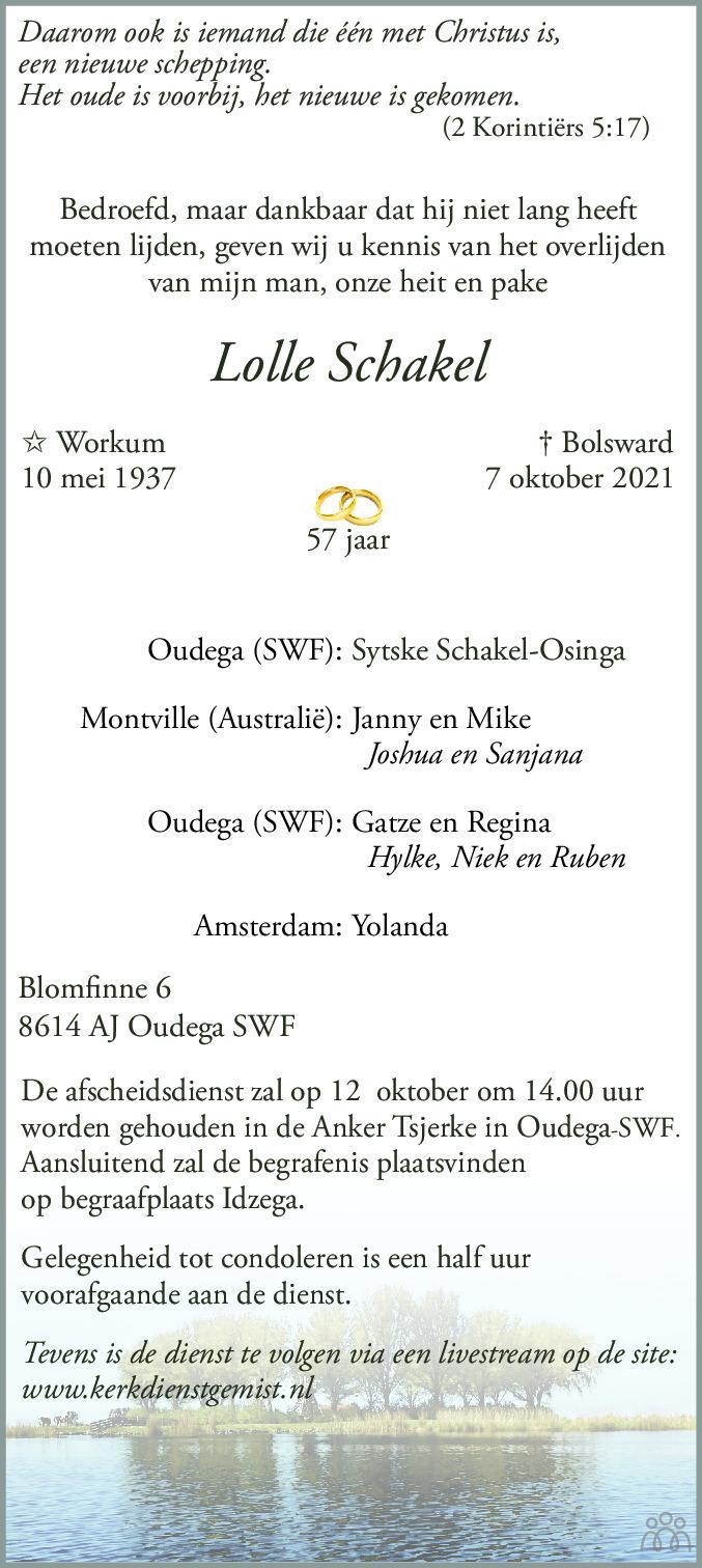 Overlijdensbericht van Lolle Schakel in Leeuwarder Courant
