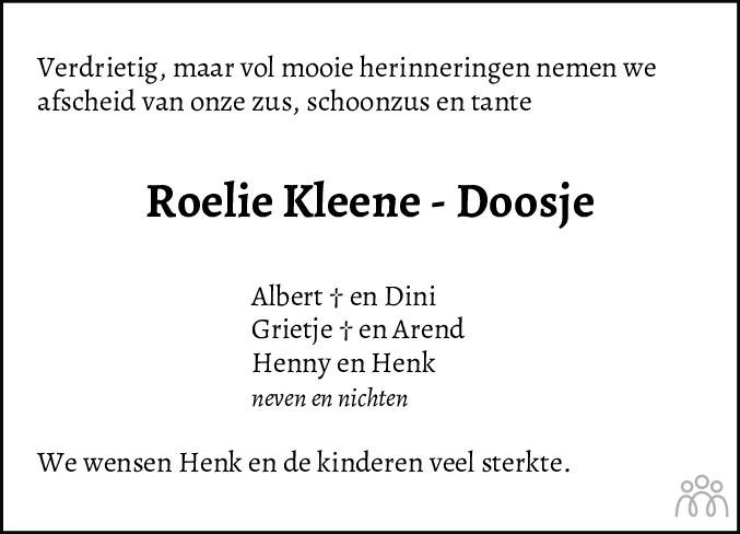 Overlijdensbericht van Roelie Kleene-Doosje in Meppeler Courant