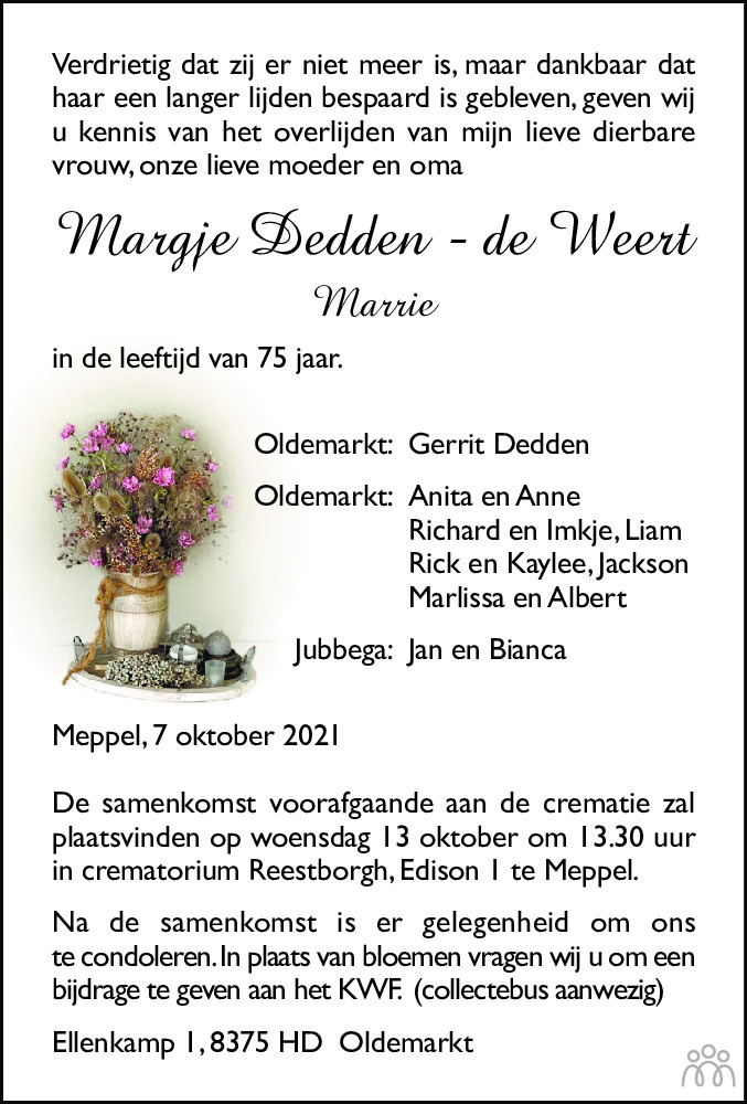 Overlijdensbericht van Margje (Marrie) Dedden-de Weert in Meppeler Courant