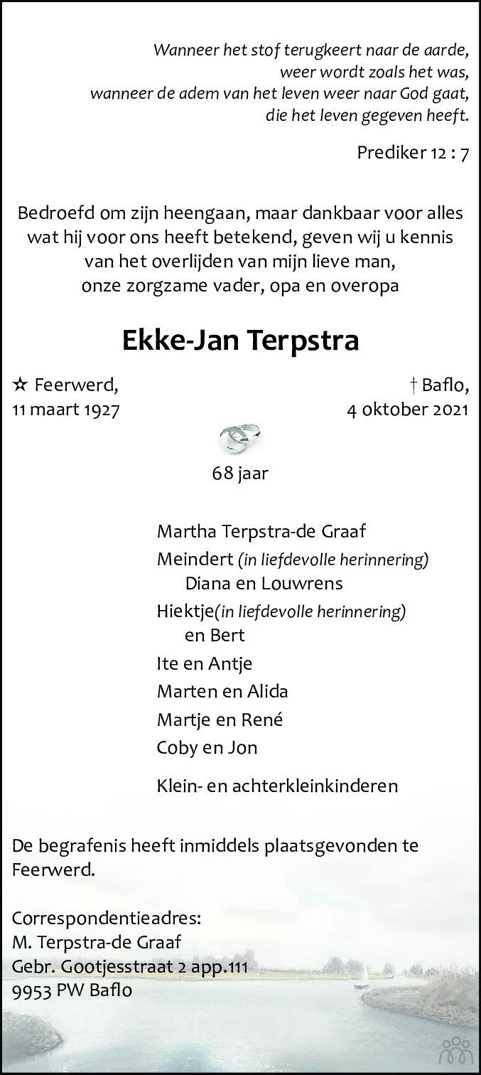Overlijdensbericht van Ekke-Jan Terpstra in Westerkwartier