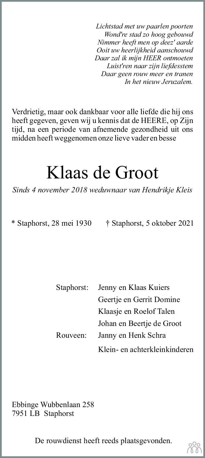 Overlijdensbericht van Klaas de Groot in De Staphorster