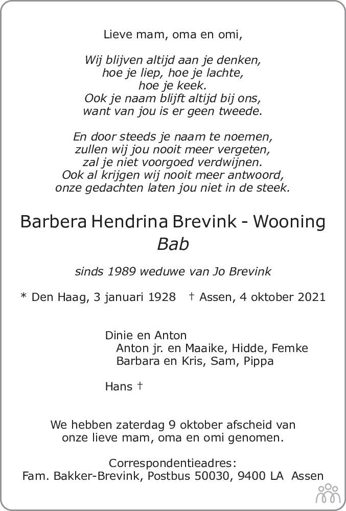 Overlijdensbericht van Barbera Hendrina (Bab) Brevink-Wooning in Asser Courant