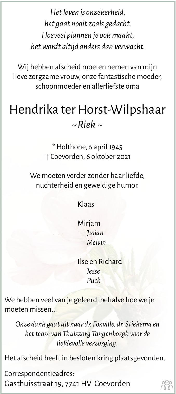 Overlijdensbericht van Hendrika (Riek) ter Horst-Wilpshaar in Coevorden Huis aan Huis