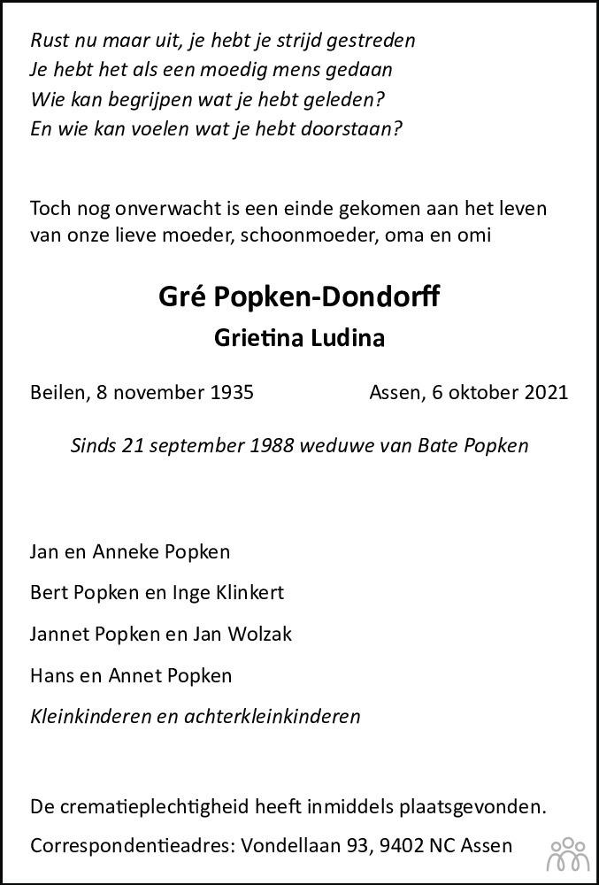 Overlijdensbericht van Gré (Grietina Ludina) Popken-Dondorff in Dagblad van het Noorden