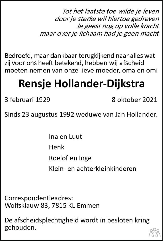 Overlijdensbericht van Rensje Hollander-Dijkstra in Dagblad van het Noorden