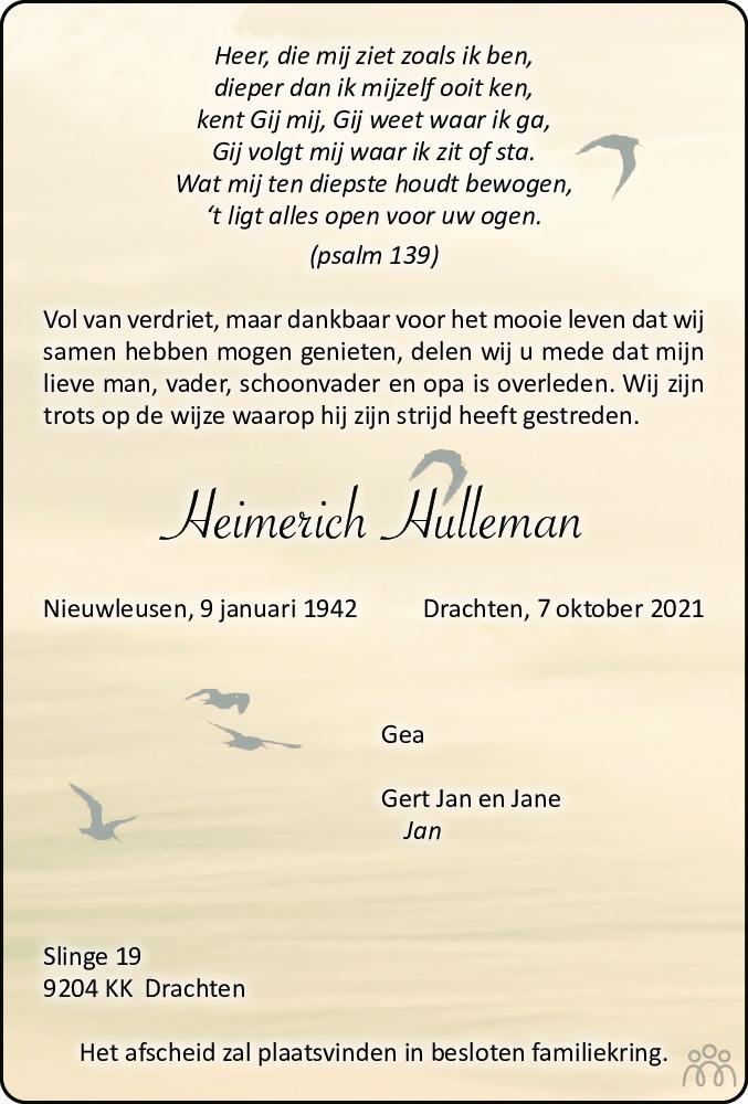 Overlijdensbericht van Heimerich Hulleman in Leeuwarder Courant