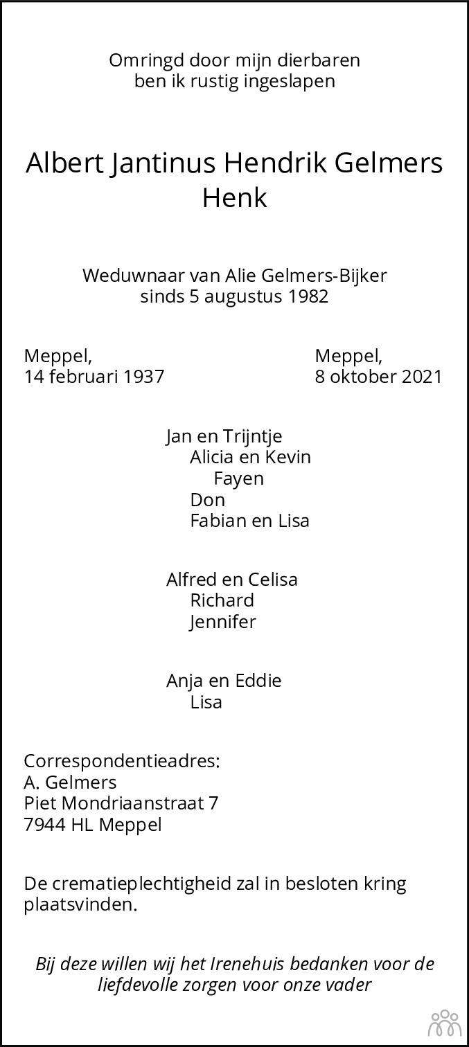 Overlijdensbericht van Albert Jantinus Hendrik (Henk) Gelmers in Meppeler Courant