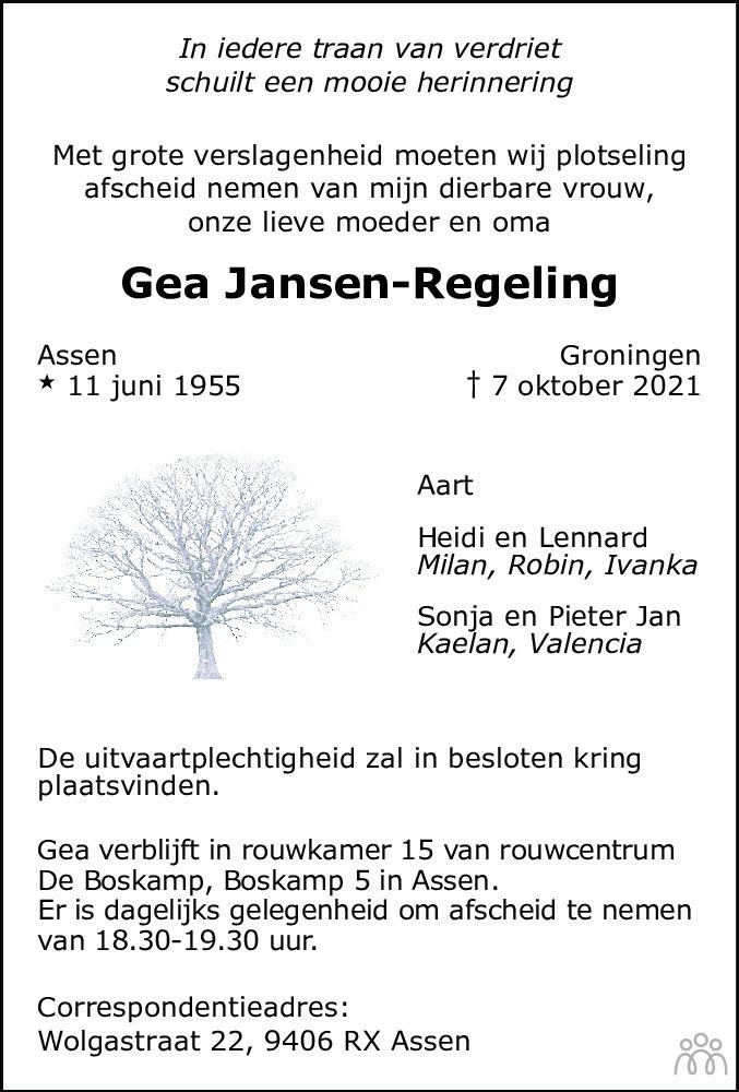 Overlijdensbericht van Gea Jansen-Regeling in Dagblad van het Noorden