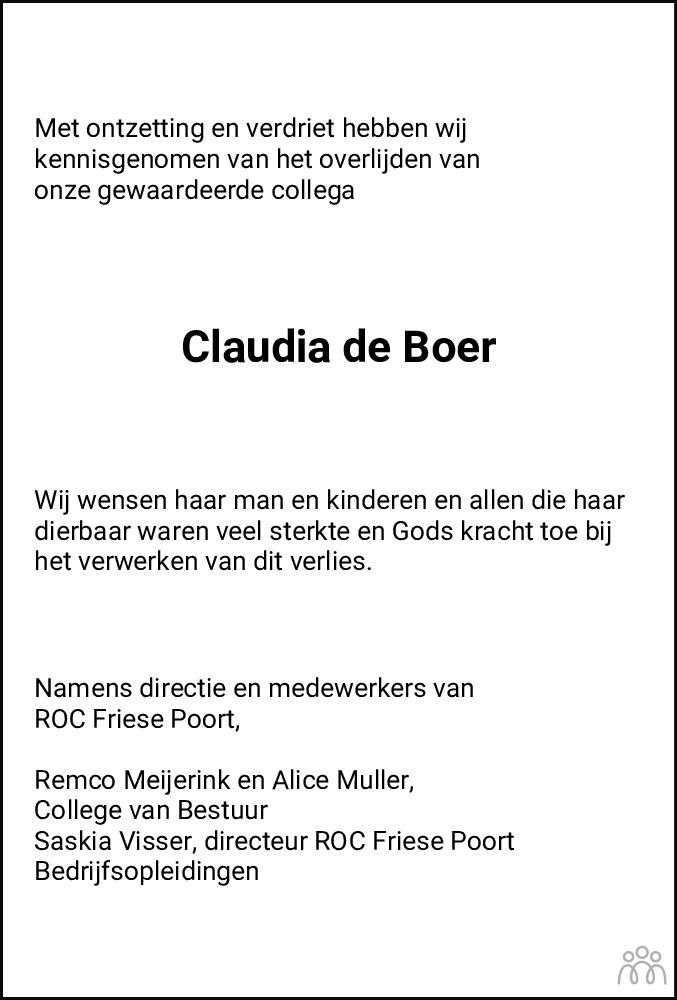 Overlijdensbericht van Claudia de Boer-de Vries in Leeuwarder Courant