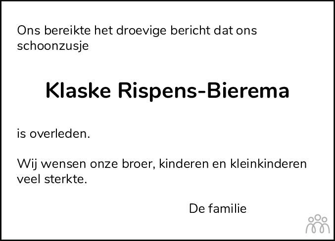 Overlijdensbericht van Klaske Rispens-Bierema in Leeuwarder Courant