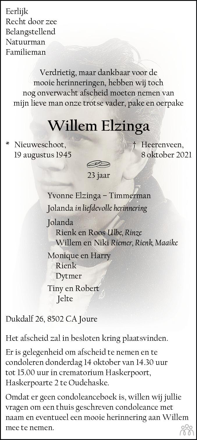 Overlijdensbericht van Willem Elzinga in Leeuwarder Courant