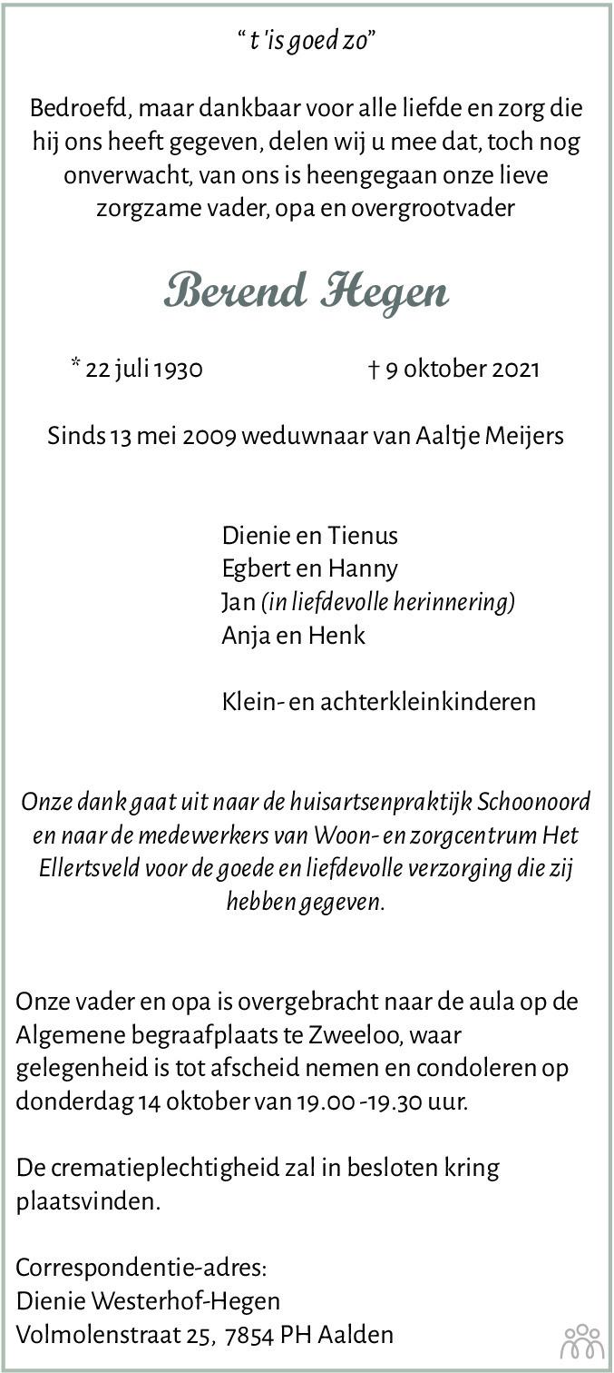 Overlijdensbericht van Berend Hegen in Dagblad van het Noorden