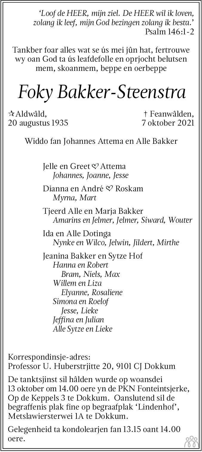 Overlijdensbericht van Foky Bakker-Steenstra in Friesch Dagblad