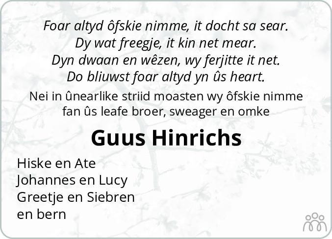 Overlijdensbericht van Guus Hinrichs in Leeuwarder Courant