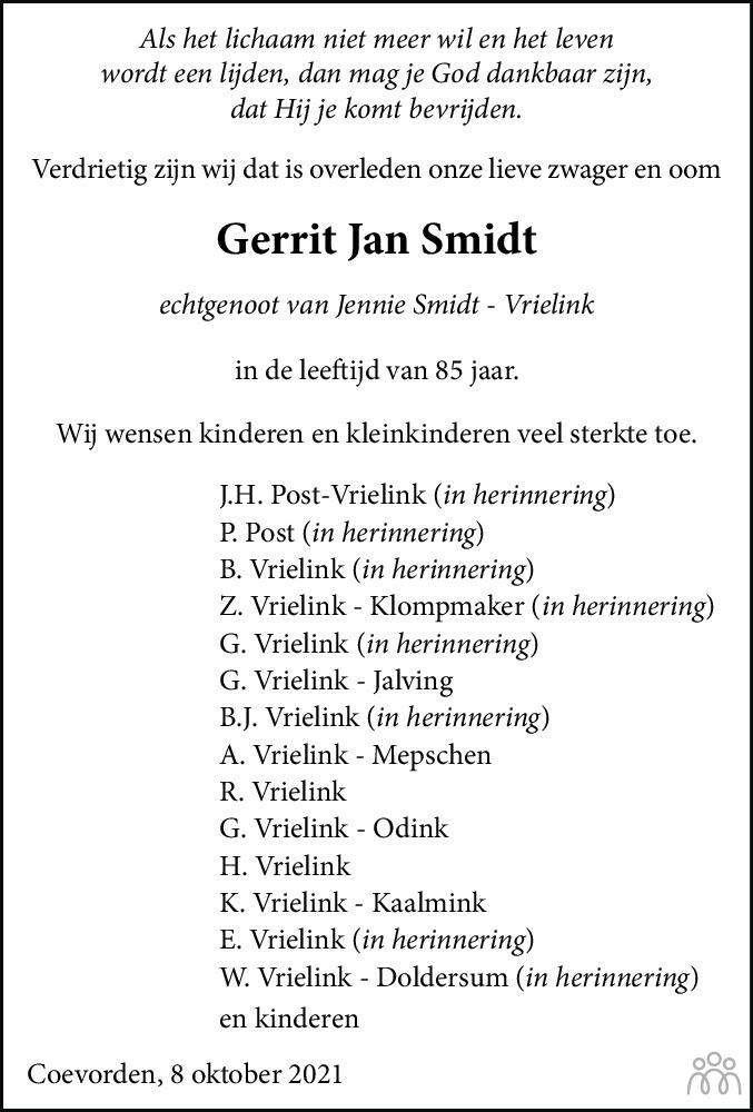 Overlijdensbericht van Gerrit Jan Smidt in Dagblad van het Noorden
