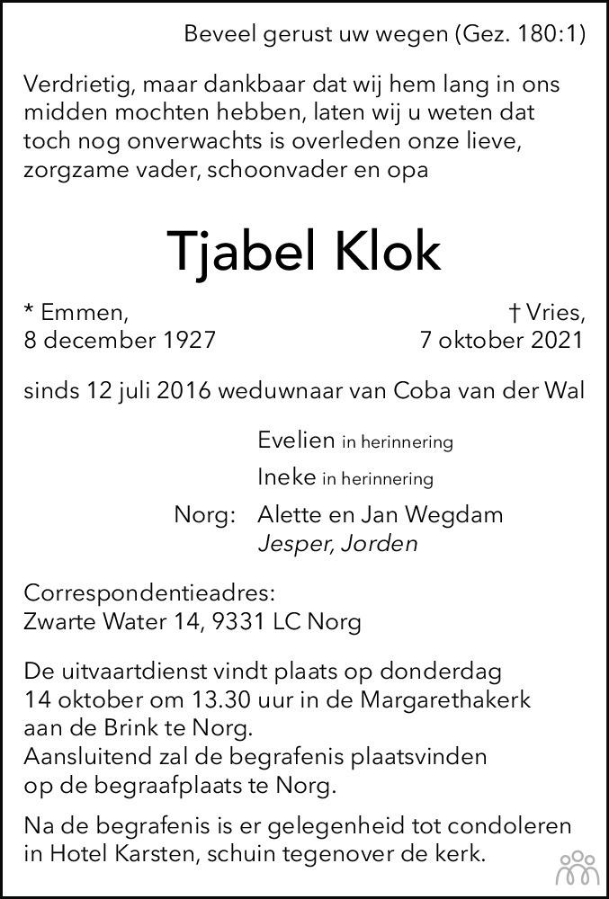 Overlijdensbericht van Tjabel Klok in Dagblad van het Noorden