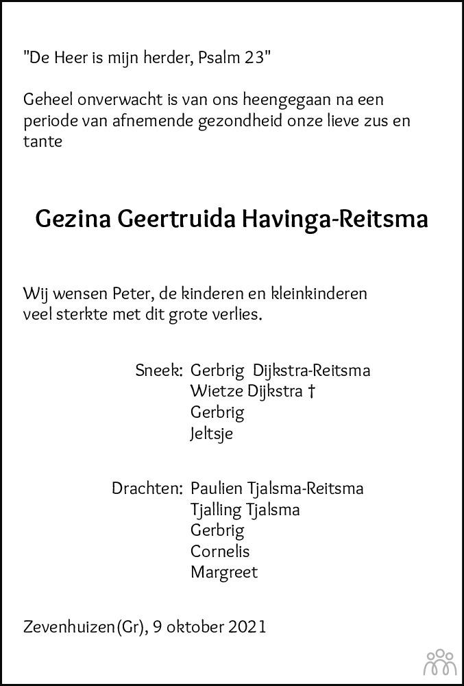 Overlijdensbericht van Gezina Geertruida Havinga-Reitsma in Leeuwarder Courant