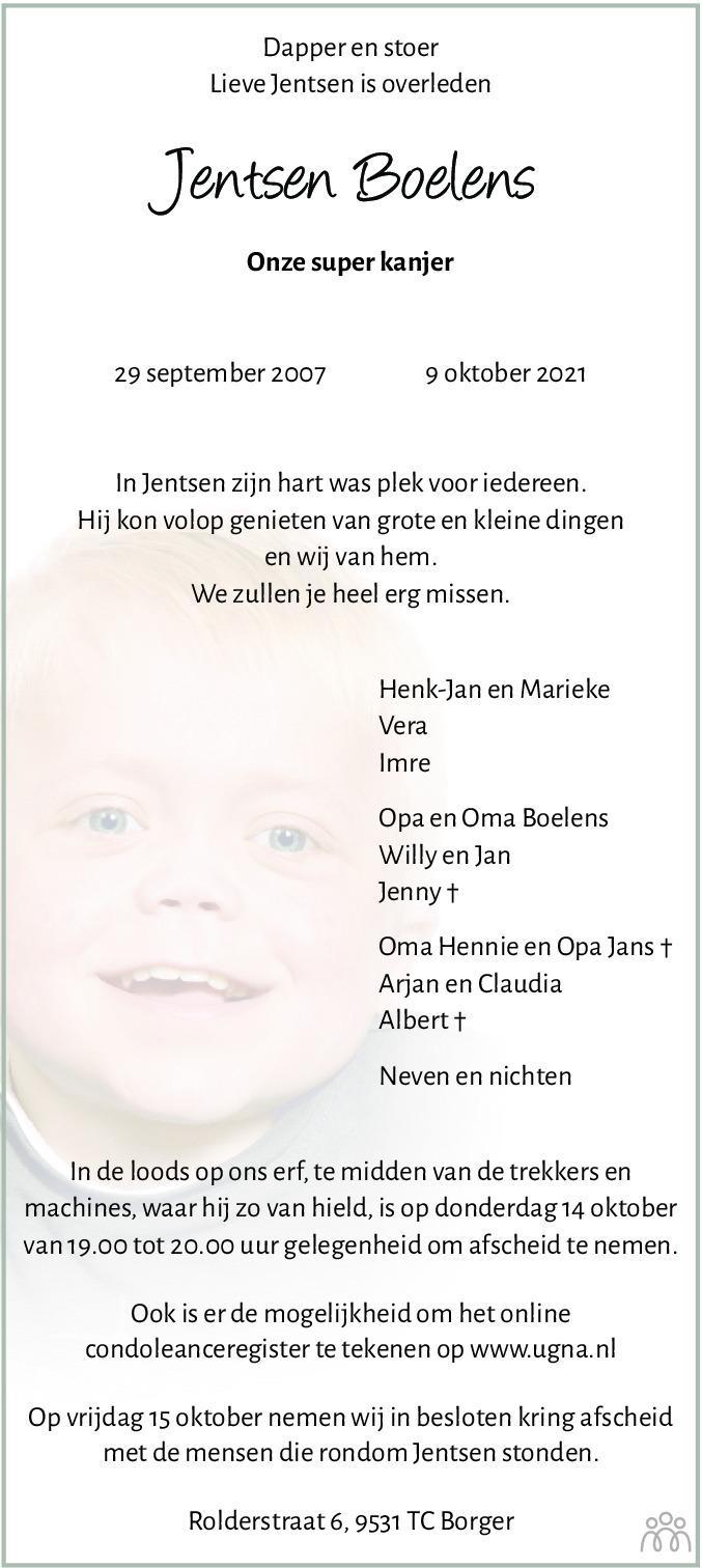Overlijdensbericht van Jentsen Boelens in Dagblad van het Noorden