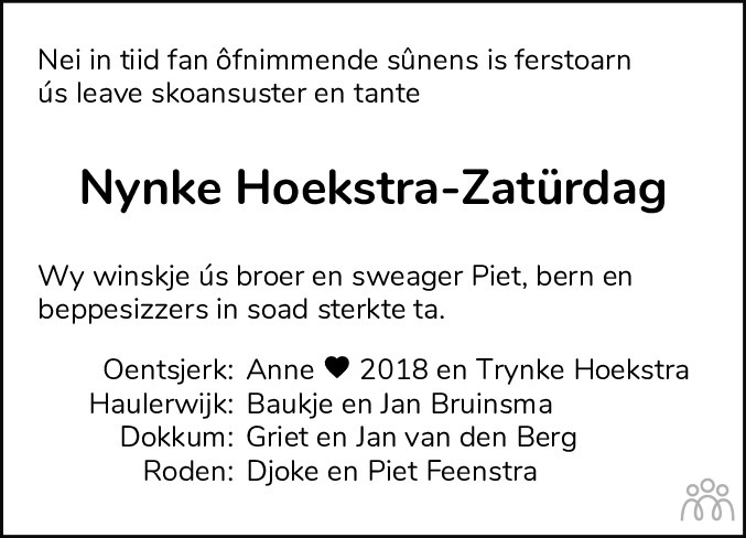 Overlijdensbericht van Trijntje (Nynke) Hoekstra-Zatürdag in Friesch Dagblad
