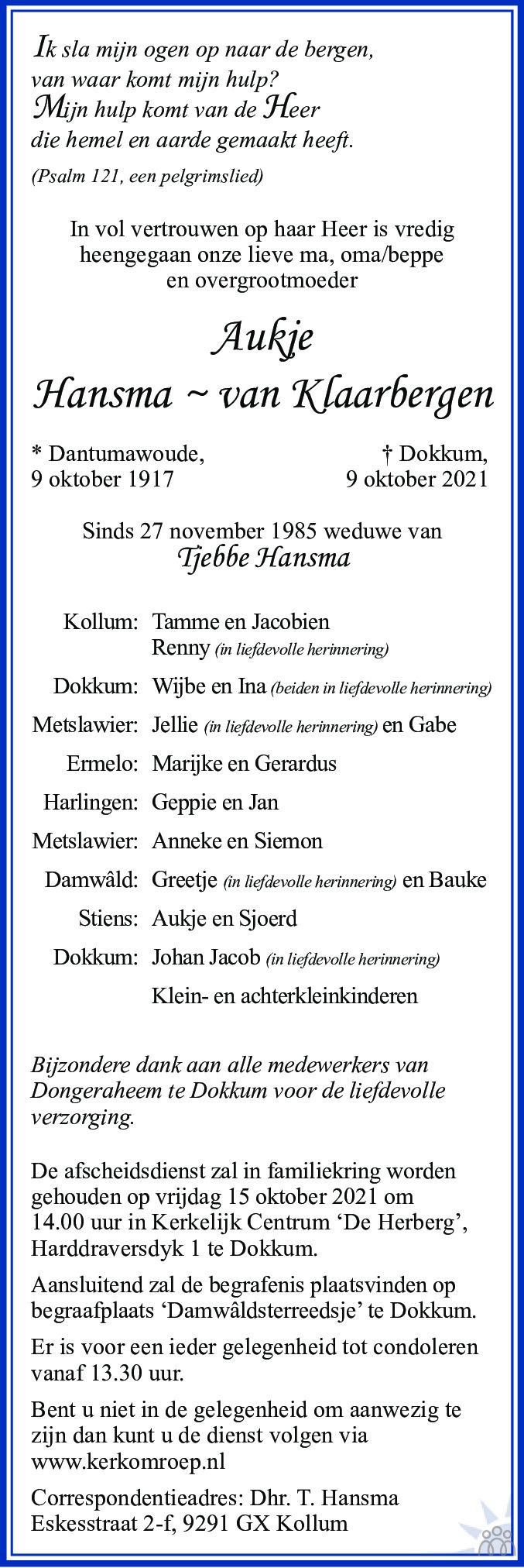 Overlijdensbericht van Aukje Hansma-van Klaarbergen in Leeuwarder Courant