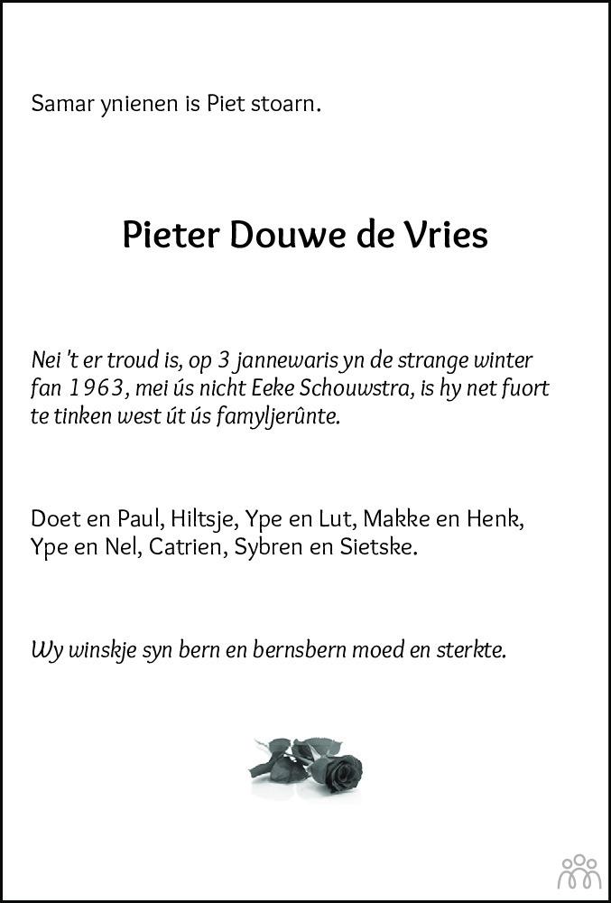 Overlijdensbericht van Pieter Douwe (Piet) de Vries in Leeuwarder Courant