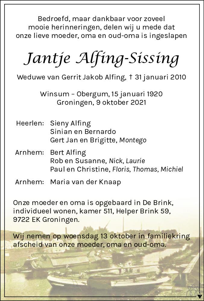 Overlijdensbericht van Jantje Alfing-Sissing in Dagblad van het Noorden