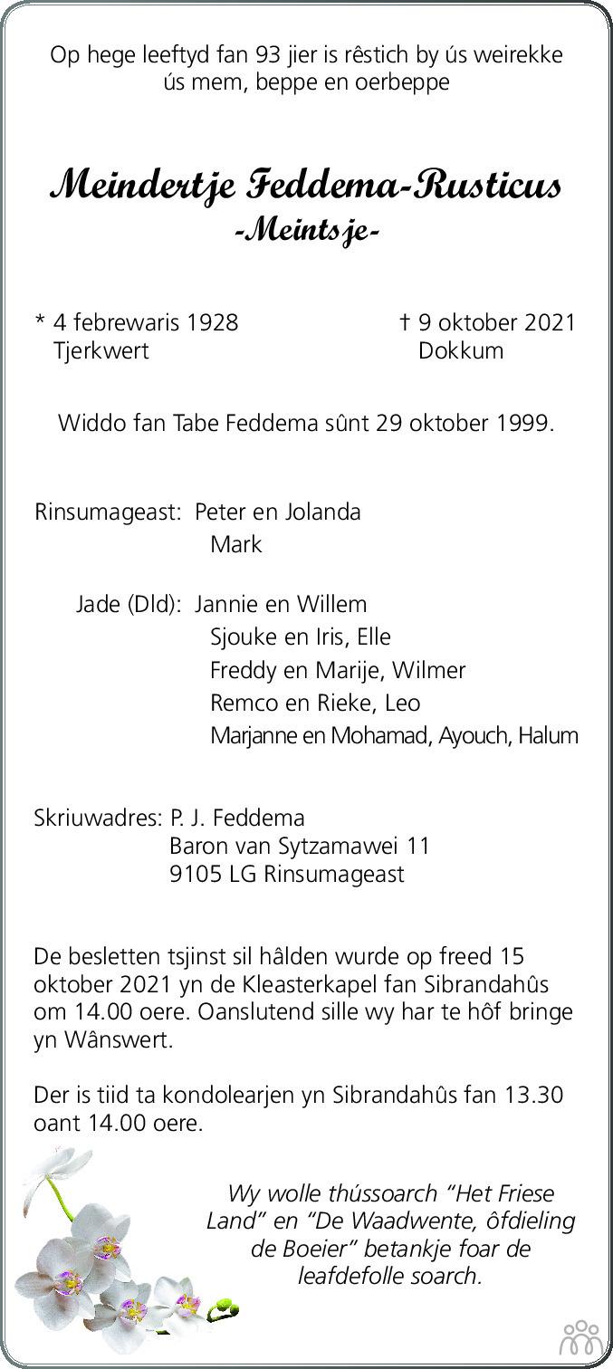 Overlijdensbericht van Meindertje (Meintsje) Feddema-Rusticus in Leeuwarder Courant
