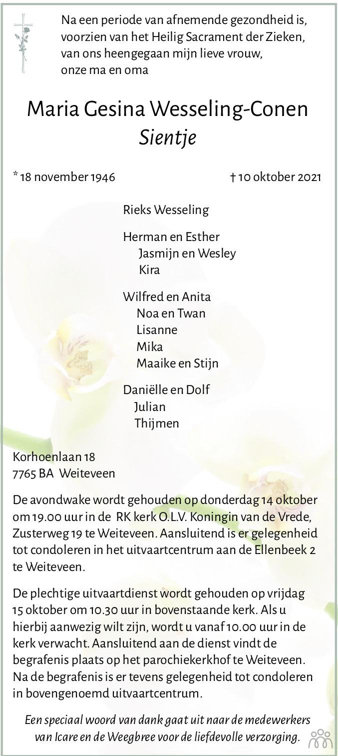 Overlijdensbericht van Maria Gesina (Sientje) Wesseling-Conen in Dagblad van het Noorden