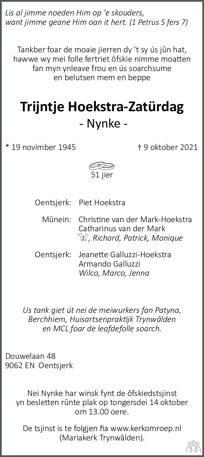 Overlijdensbericht van Trijntje (Nynke) Hoekstra-Zatürdag in Leeuwarder Courant