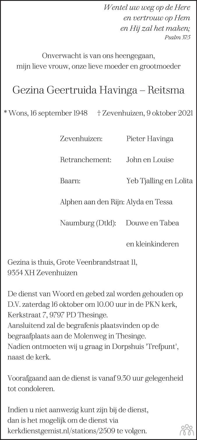 Overlijdensbericht van Gezina Geertruida Havinga-Reitsma in Dagblad van het Noorden