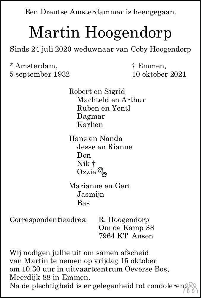 Overlijdensbericht van Martin Hoogendorp in Dagblad van het Noorden