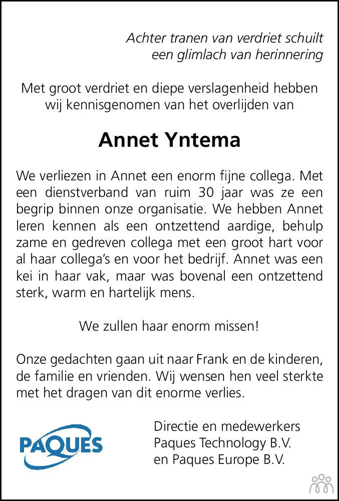 Overlijdensbericht van Annet (Anna Martha Maria) Paques-Yntema in Leeuwarder Courant