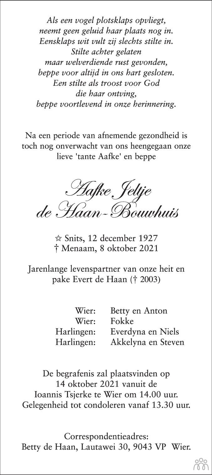 Overlijdensbericht van Aafke Jeltje de Haan-Bouwhuis in Leeuwarder Courant