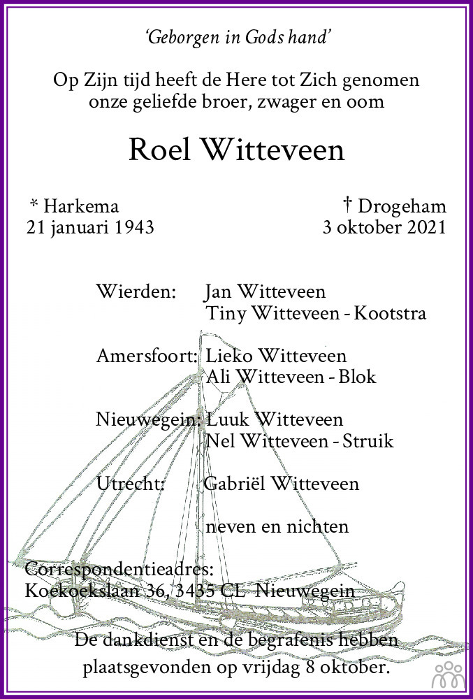 Overlijdensbericht van Roel Witteveen in De Feanster