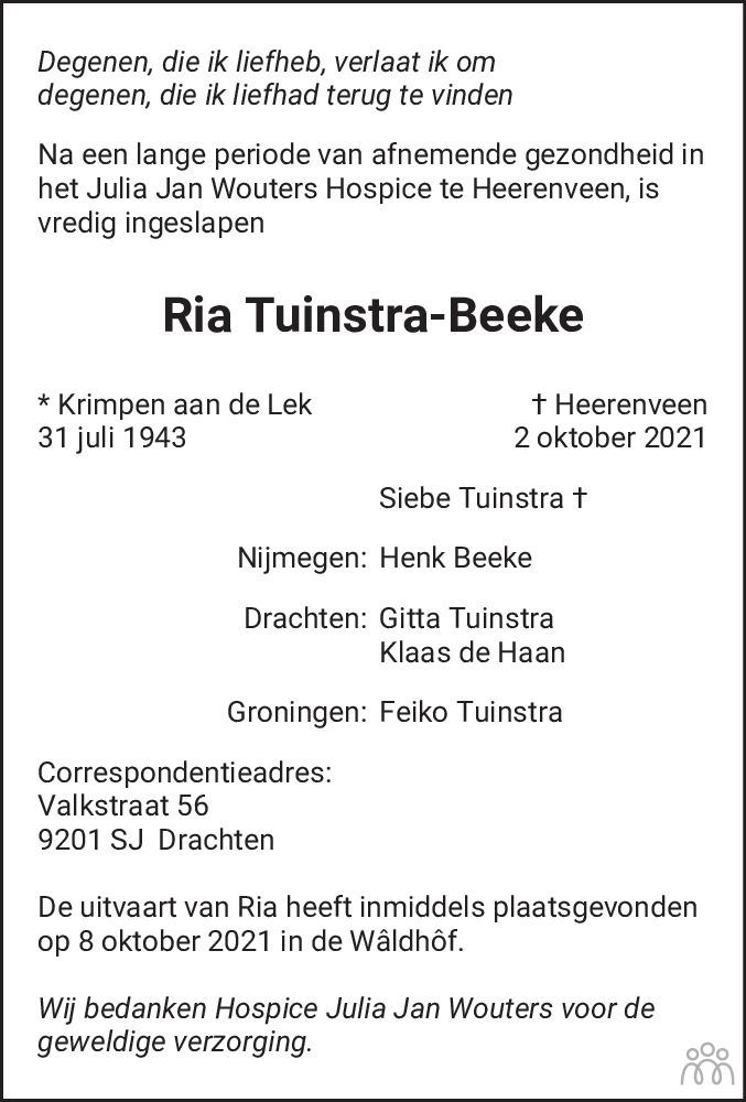 Overlijdensbericht van Ria Tuinstra-Beeke in Drachtster Courant