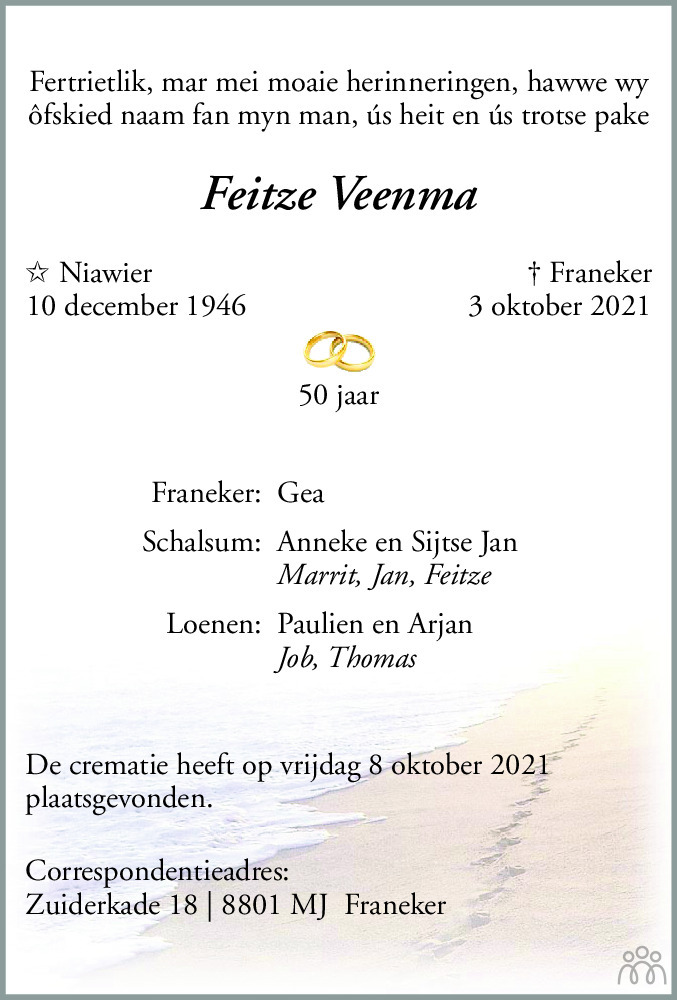 Overlijdensbericht van Feitze Veenma in Franeker Courant