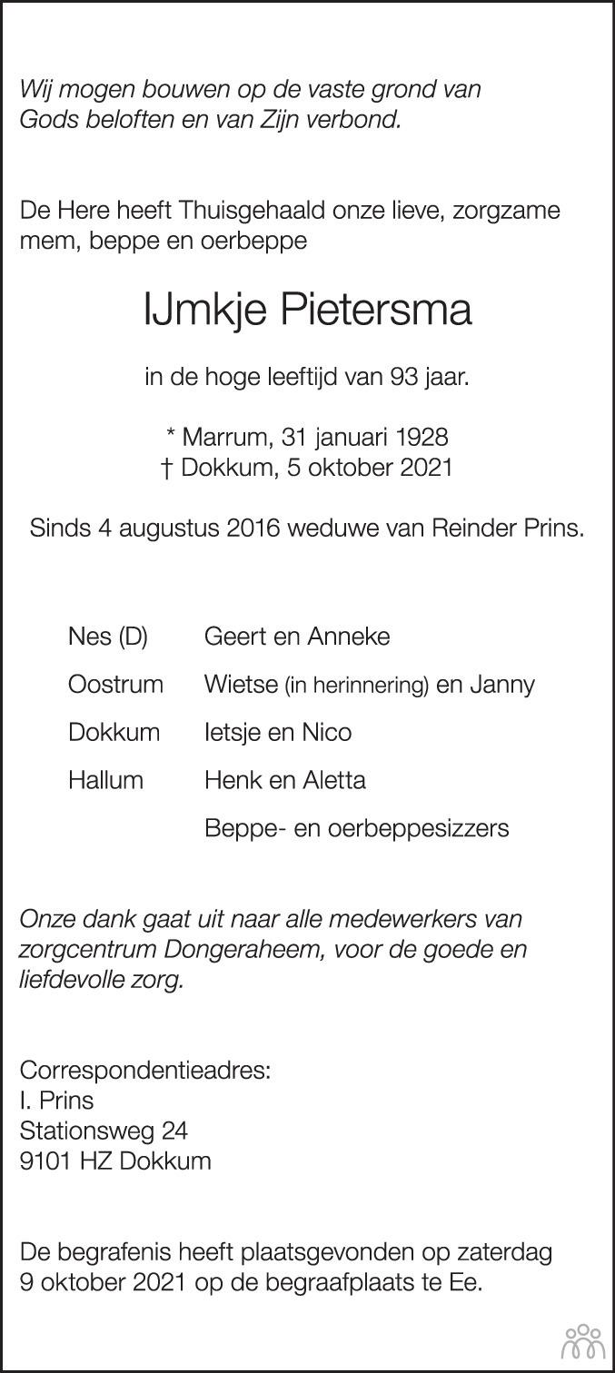 Overlijdensbericht van IJmkje Pietersma in Dockumer Courant