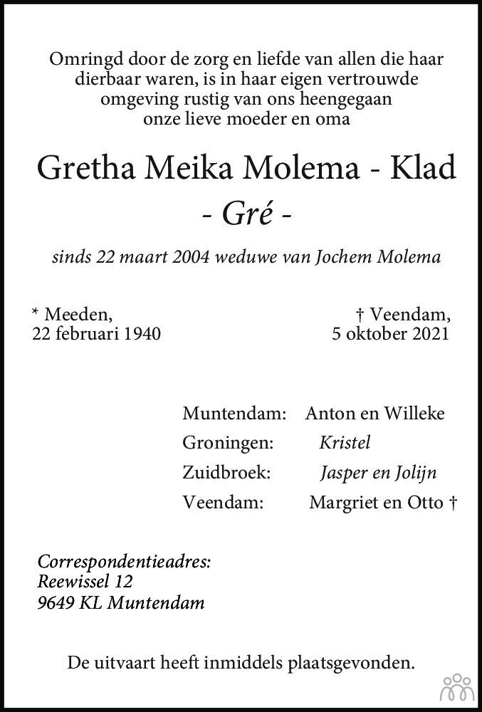 Overlijdensbericht van Gretha Meika (Gré) Molema-Klad in Dagblad van het Noorden