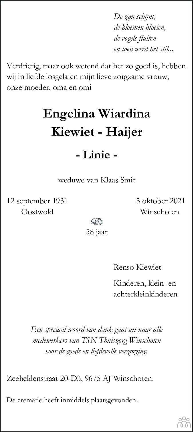 Overlijdensbericht van Engelina Wiardina (Linie) Kiewiet-Haijer in Streekblad/Pekelder Streekblad