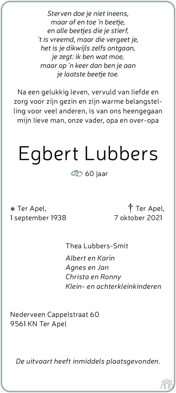 Overlijdensbericht van Egbert Lubbers in Kanaalstreek Ter Apeler Courant