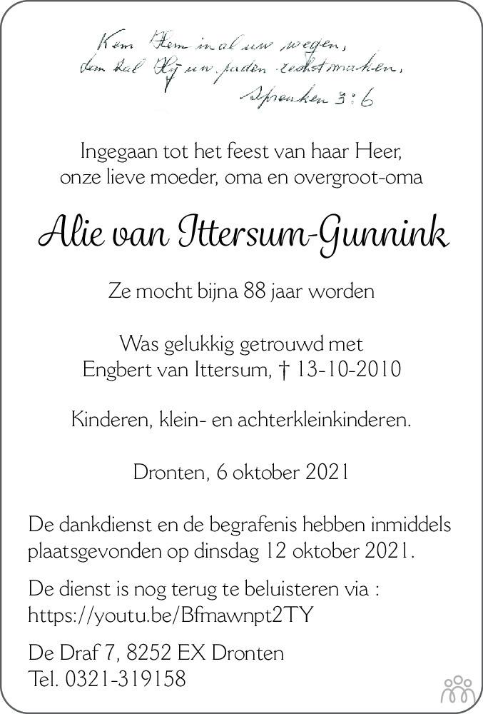 Overlijdensbericht van Alie van Ittersum-Gunnink in Flevopost Dronten