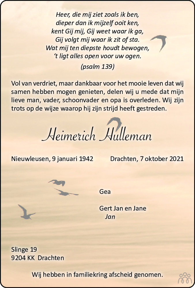 Overlijdensbericht van Heimerich Hulleman in Drachtster Courant