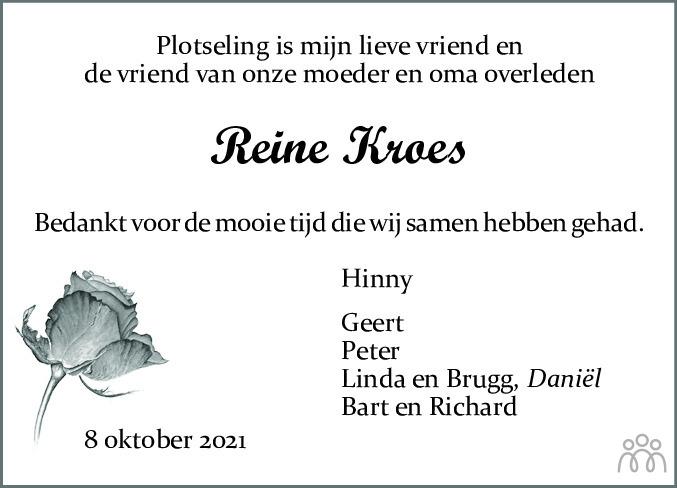 Overlijdensbericht van Reine Kroes in Dagblad van het Noorden