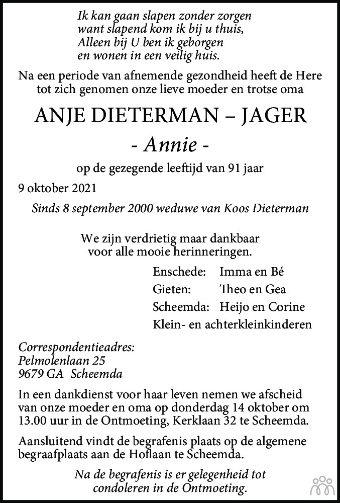Overlijdensbericht van Anje (Annie) Dieterman-Jager in Streekblad/Pekelder Streekblad