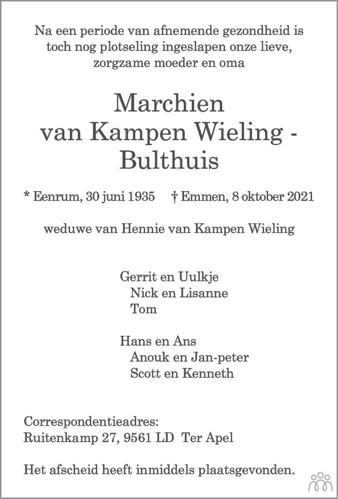 Overlijdensbericht van Marchien van Kampen Wieling-Bulthuis in Kanaalstreek Ter Apeler Courant