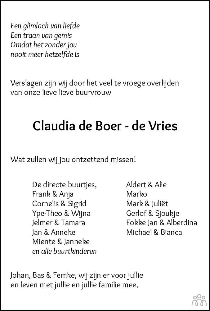 Overlijdensbericht van Claudia de Boer-de Vries in Drachtster Courant