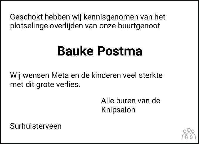 Overlijdensbericht van Bauke Postma in De Feanster