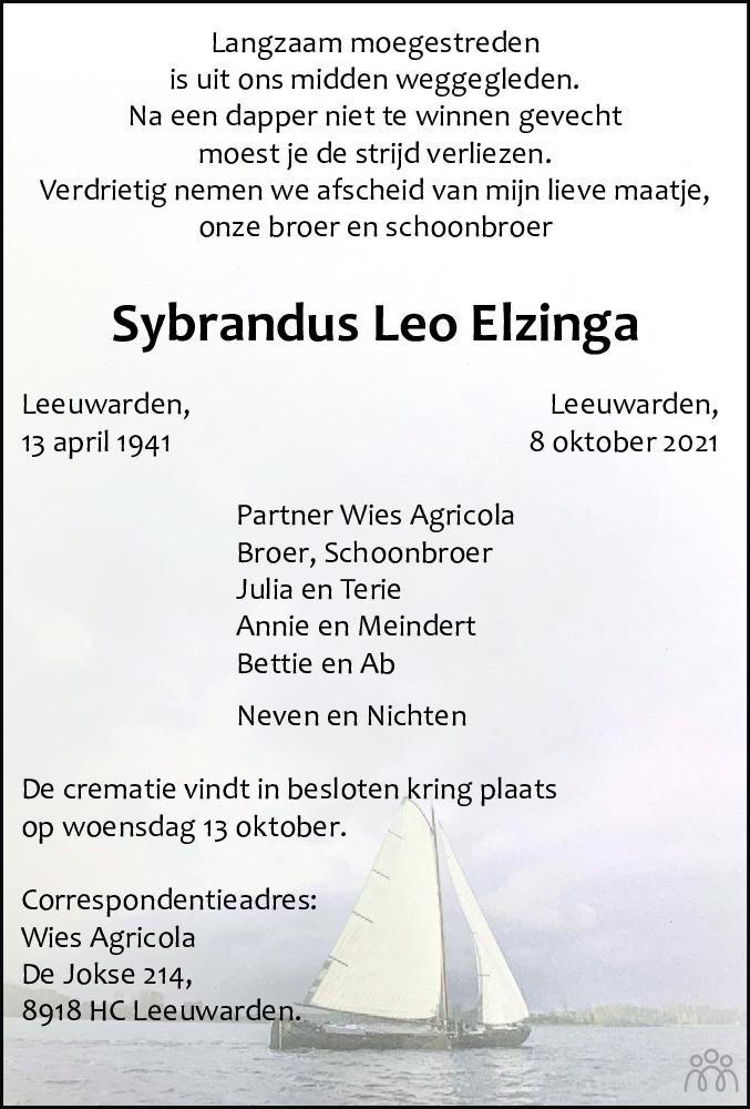 Overlijdensbericht van Sybrandus Leo Elzinga in Leeuwarder Courant